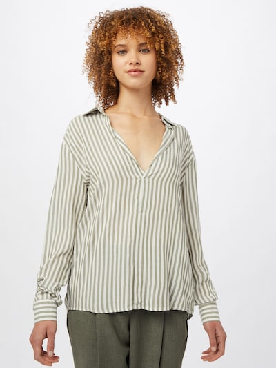 Hailys Bluse 'Anetta' in khaki / offwhite, Modelansicht
