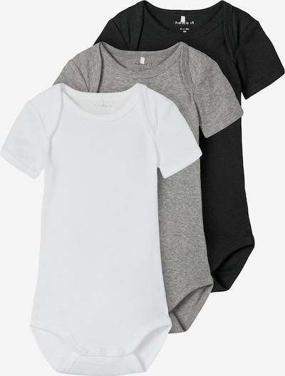 NAME IT Pijama entero/body en gris / negro / blanco, Vista del producto