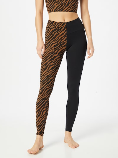 Hey Honey Workout Pants in Brown / Black, View model