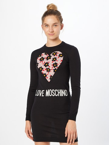 Love Moschino Gebreide jurk 'VESTITO INTARSIO CUORE 80'S FLOWERS' in Zwart