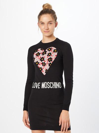 Love Moschino Kleid 'VESTITO INTARSIO CUORE 80'S FLOWERS' in blau / gelb / rosa / rot / schwarz / weiß, Modelansicht