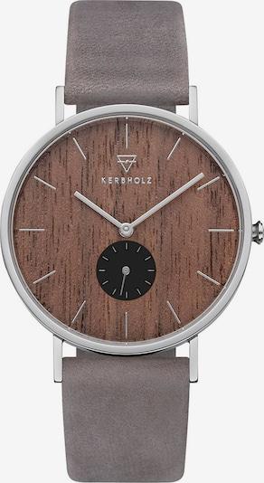 Kerbholz Uhr in braun / taupe / silber, Produktansicht