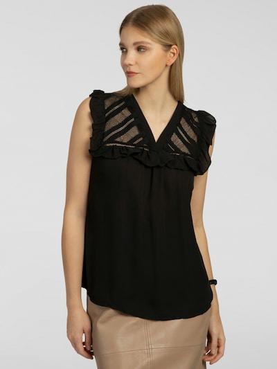 APART Bluse mit Rüschenbesatz in schwarz, Modelansicht