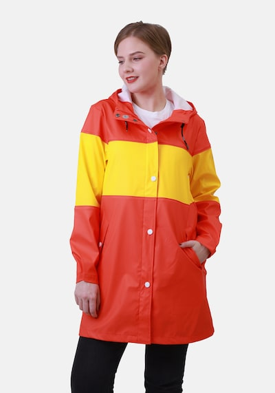 Dingy Rhythm Of The Rain Mantel 'Emily' in gelb / rot, Modelansicht