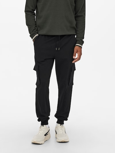 Pantaloni cu buzunare 'Kian' Only & Sons pe negru, Vizualizare model
