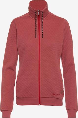 VAUDE Athletic Zip-Up Hoodie 'Redmont' in Red