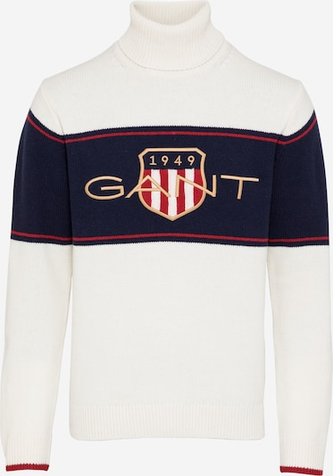 GANT Trui 'D2. ARCHIVE SHIELD TURTLENECK' in de kleur Crème / Navy, Productweergave