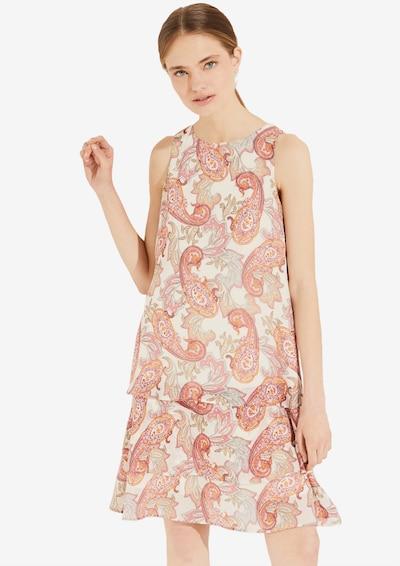 COMMA Kleid in creme / orange / pink, Modelansicht