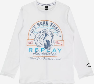 REPLAY Shirt in navy / türkis / dunkelorange / rot / weiß, Produktansicht