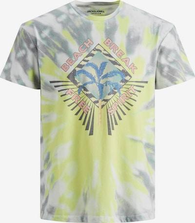 JACK & JONES T-Shirt en jaune / gris / blanc, Vue avec produit