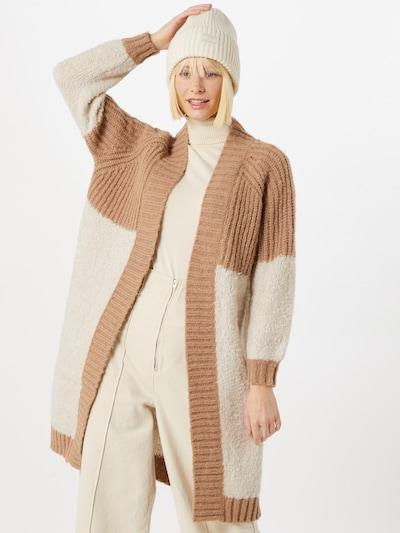 ONLY Manteau en tricot 'Avery' en marron / pierre, Vue avec modèle