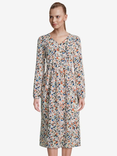 Betty & Co Kleid in himmelblau / pastellgelb / khaki / dunkelorange / weiß, Modelansicht