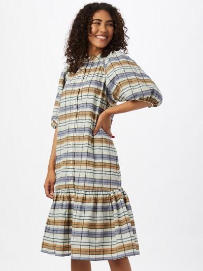 SECOND FEMALE Kleid 'Ambrosia' in azur / pastellblau / hellbraun / weiß, Modelansicht