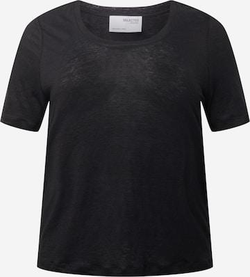 Selected Femme Curve Shirt 'SLFLINE' in Zwart