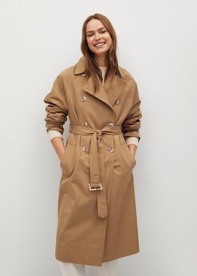 Palton de primăvară-toamnă MANGO pe maro, Vizualizare model