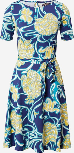King Louie Jurk 'Betty' in de kleur Blauw / Lichtblauw / Geel / Wit, Productweergave