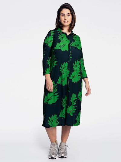 Yoek Blouse ' Leaves ' in Dark blue / Green, View model