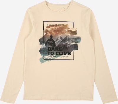 Marškinėliai 'Vux' iš NAME IT, spalva – ruda / benzino spalva / juoda / vilnos balta, Prekių apžvalga
