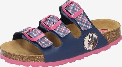 SPIEGELBURG Pantoletten 'Pferdefreunde' in blau / pink / weiß, Produktansicht