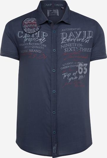 CAMP DAVID Kurzarmhemd mit plakativen Logo-Applikationen in blau, Produktansicht