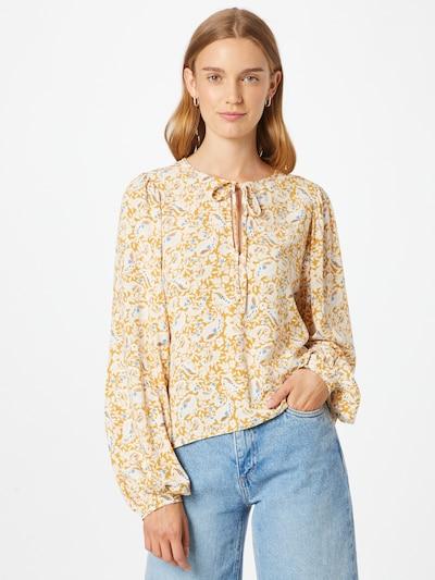 OBJECT Bluse 'MARIE' in himmelblau / braun / gelb / weiß, Modelansicht