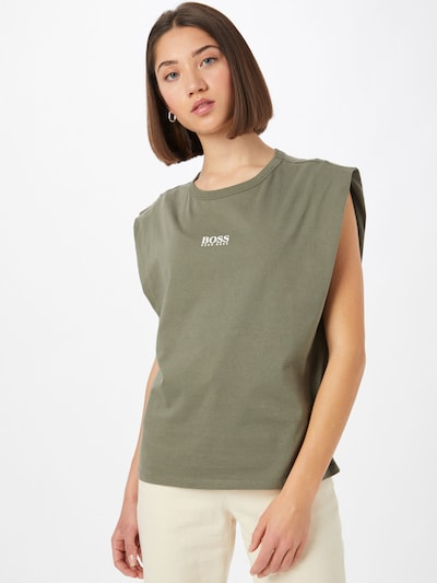 BOSS Casual Top 'Elys1' in Olive / White: Frontal view