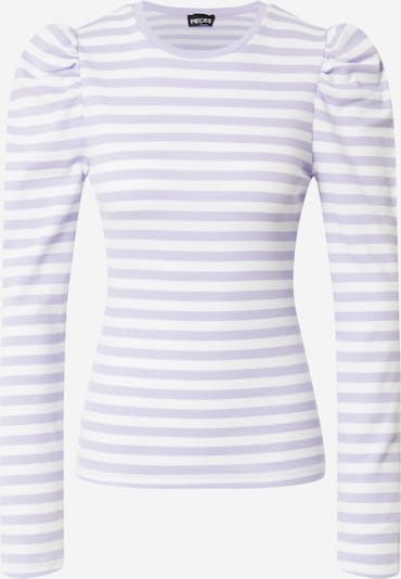 PIECES Μπλουζάκι 'Anna' σε λεβάντα / λευκό, Άποψη προϊόντος