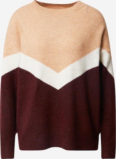VERO MODA Pullover 'Gingo' in hellbeige / weinrot / offwhite, Produktansicht
