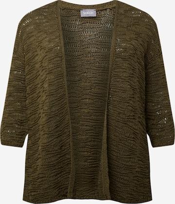 SAMOON Плетена жилетка в зелено
