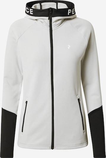 PEAK PERFORMANCE Sportssweatjakke 'Rider' i lysegrå / sort / hvid, Produktvisning