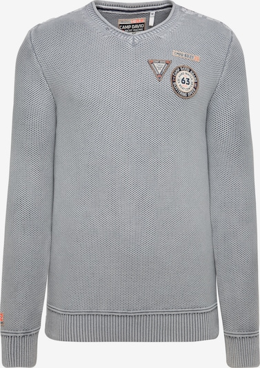 CAMP DAVID Stone Washed Pullover mit Patches in grau, Produktansicht
