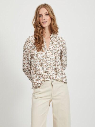 VILA Bluse in beige / grün / weiß, Modelansicht