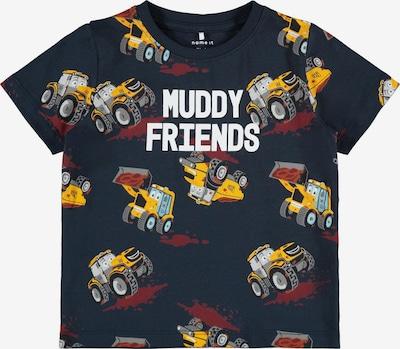NAME IT Shirt 'Kornel' in dunkelblau / gelb / grau / blutrot / weiß, Produktansicht