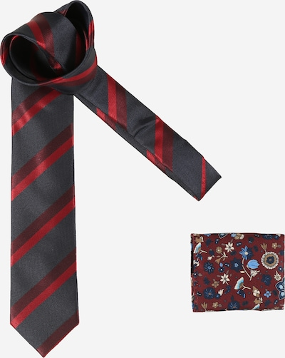 JACK & JONES Cravate 'EVAN' en bleu nuit / mélange de couleurs / lie de vin, Vue avec produit