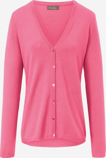 include Strickjacke mit tiefem V-Ausschnitt in pink, Produktansicht
