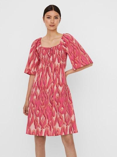 VERO MODA Kleid 'Annabelle' in hellbeige / dunkelorange / pitaya / hellpink / weiß, Modelansicht