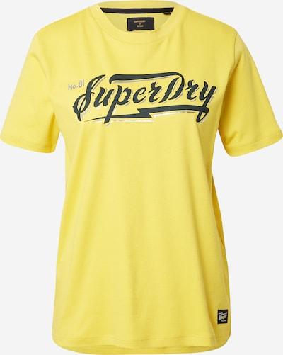 Superdry T-Shirt in limone / schwarz / silber, Produktansicht