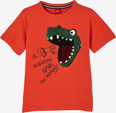 s.Oliver T-Shirt in grün / dunkelorange / rot / schwarz, Produktansicht