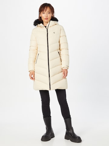 Calvin Klein Jeans Winter Coat in Beige