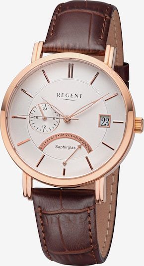 REGENT Uhr in dunkelbraun / rosegold / silber, Produktansicht