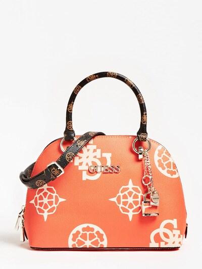GUESS Handtasche 'South Bay' in braun / orange / weiß: Frontalansicht