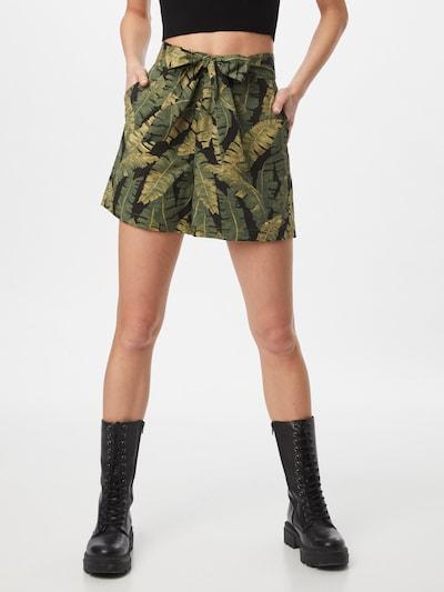 OBJECT Broek 'FANA' in de kleur Olijfgroen / Donkergroen / Zwart, Modelweergave