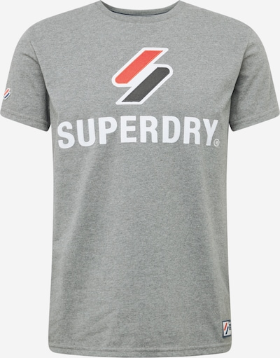 Superdry T-Shirt in graumeliert / rot / schwarz / weiß, Produktansicht