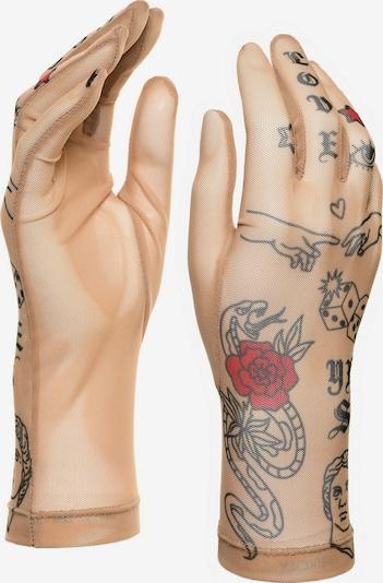 BRIKOLY Fingerhandschuhe in nude / rot / schwarz, Produktansicht
