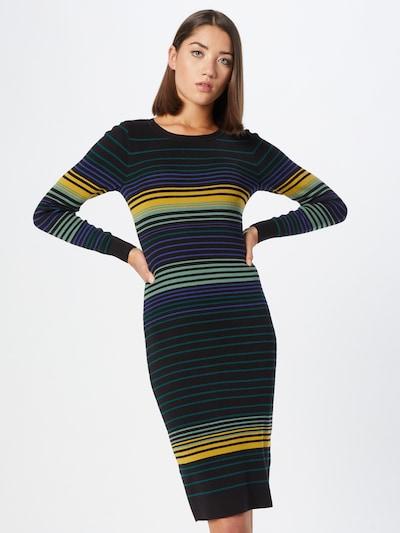King Louie Knitted dress in yellow gold / Petrol / Pastel green / Neon purple / Black, View model