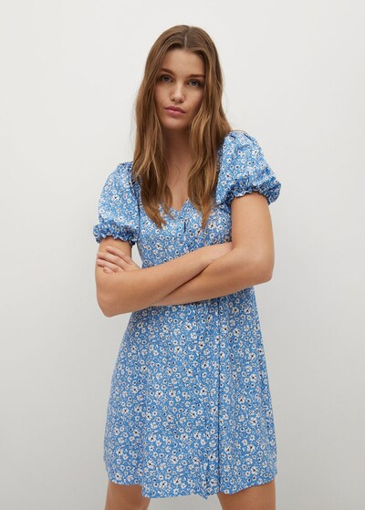 MANGO Kleid 'Sere' in blau / weiß, Modelansicht