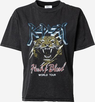 REPLAY Shirt in navy / oliv / rot / schwarz / weiß: Frontalansicht