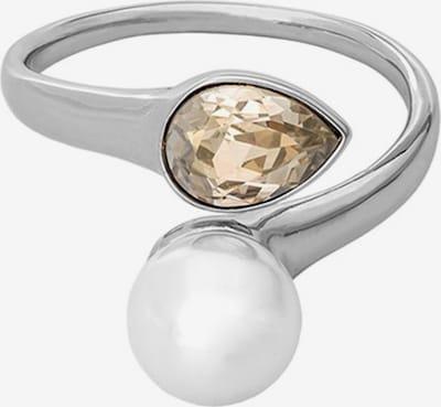 Inele 'Ella' LILY AND ROSE pe bej deschis / argintiu / alb perlă, Vizualizare produs