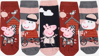 NAME IT Socken 'Peppa Pig Sunri' in navy / silbergrau / hellpink / dunkelrot / weiß, Produktansicht