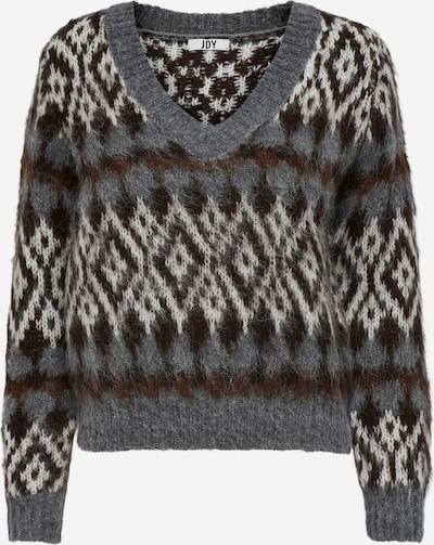 JDY Pullover 'Nille' in creme / dunkelbraun / graumeliert, Produktansicht
